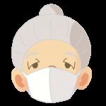 マスクをするお祖母さん