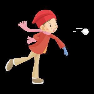 雪玉を投げる女の子